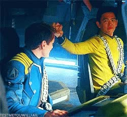 Watch and share Anton Yelchin John Cho GIFs on Gfycat
