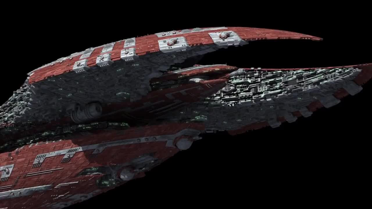 Alien, All Tags, CG, CGI, Flyby, Sci-fi, Star, animation, carrier, future, military, model, render, scifi, ship, space, spaceship, starship, Intimidating scifi space cruiser 3D model GIFs