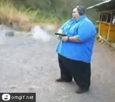 Watch and share Fat Shooting His Gun GIFs on Gfycat