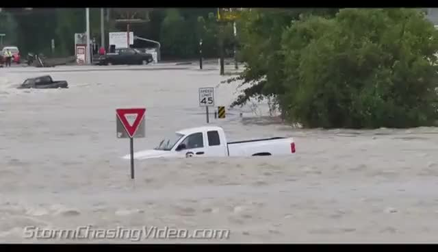 Watch Insane video of Pickup Truck swept away Columbia SC Floods and rescue - 10/4/2015 GIF on Gfycat. Discover more related GIFs on Gfycat