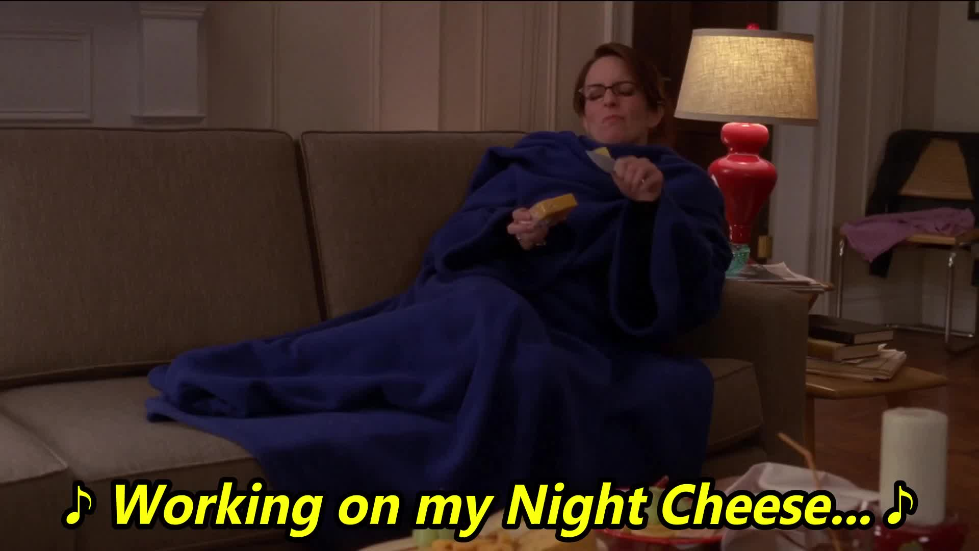30 rock, busy, cheese, feeling old, fey, lemon, liz, night, s03e19, the ones, tina, ♪ Working on my Night Cheese... ♪ GIFs