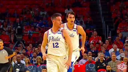 Watch T.J. McConnell and Ben Simmons — Philadelphia 76ers GIF by Off-Hand (@off-hand) on Gfycat. Discover more 050718 GIFs on Gfycat