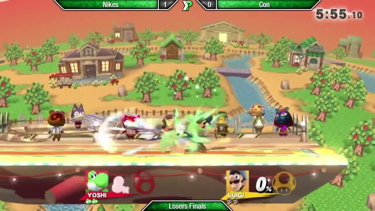 super smash bros. (video game series), super smash bros. (video game), super smash bros. melee (video game), EVAC - Nikes (Yoshi) vs Con (Luigi) - Losers Finals - Smash 4 GIFs