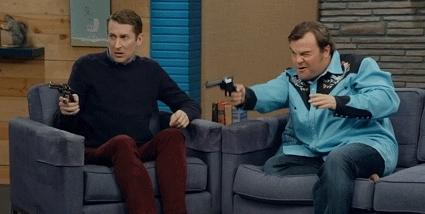 Scott Aukerman, adam scott, adam scott gif, adam scott tv, cbb, cbbtv, comedy bang bang, ifc, jack black, CBB Stunt Shoot OutSeason 4 Episode 12 GIFs
