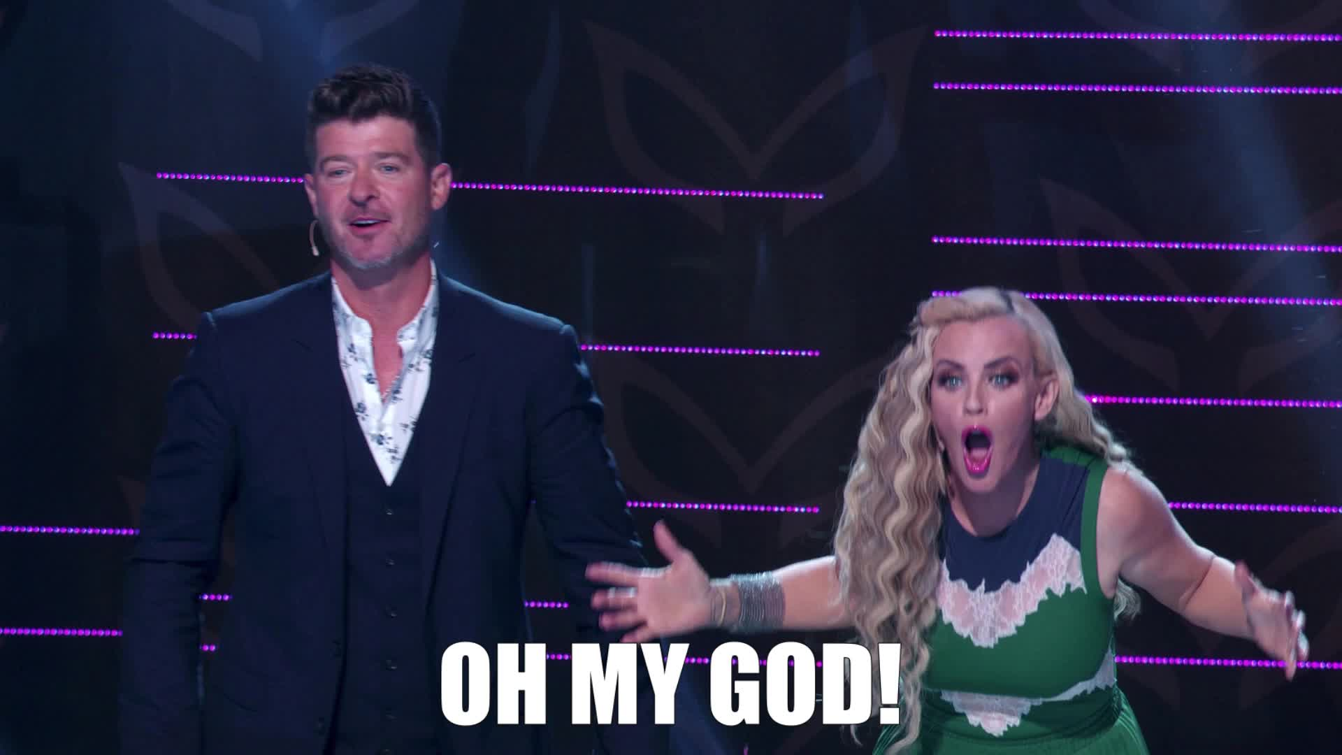 crazy, excited, jenny mccarthy, masked singer, mind blown, oh my god, oh my gosh, omg, robin thicke, shocked, surprise, the masked singer, the masked singer on fox, wow, wtf, Oh My God! GIFs