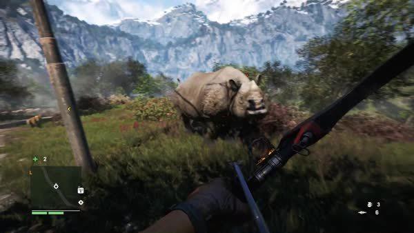 60fpsgaminggifs, farcry, pics, [Far Cry 4] Bow and arrow vs rhino GIFs