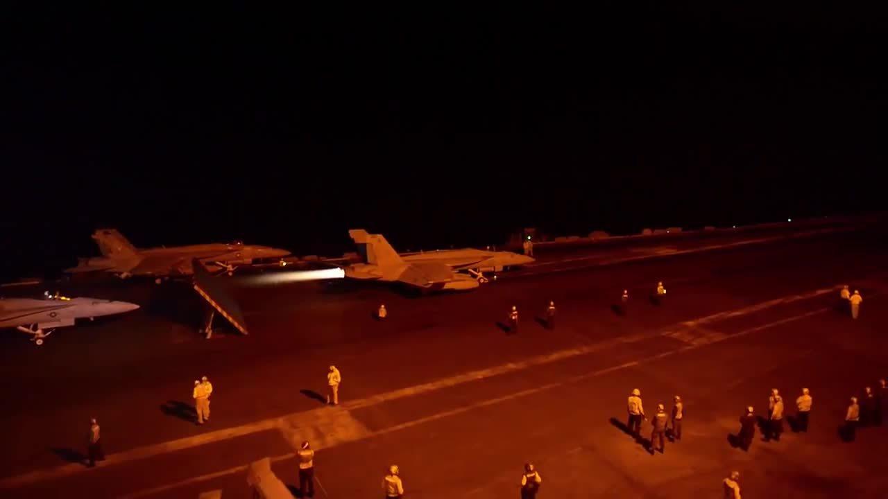 WarplaneGfys, militarygfys, F/A-18 night take off from Teddy Rose. (reddit) GIFs