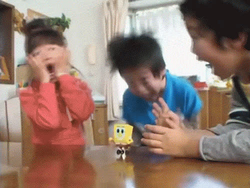 cant deal, excited, freaking out, happy, kids, omg, shook, spongebob, Kids Freaking Out Over Spongebob Toy GIFs