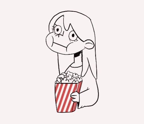 animation, gif, it was ok, jurassic world, me, nervous, popcorn, vijolea, Last week I finally went to see Jurassic World, and I was so GIFs