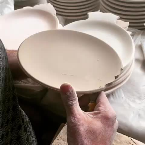 satisfying, clay, pottery, Trimming clay plate GIFs
