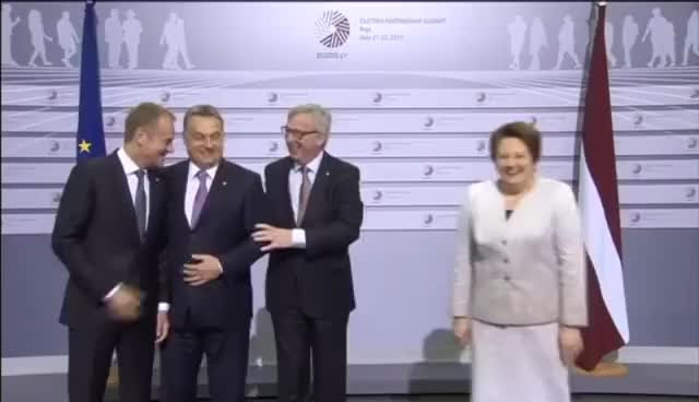 Watch and share Orban Slapped At Summit:  EU Chief Executive Juncker Says 'hello Dictator!' To Hungarian PM GIFs on Gfycat