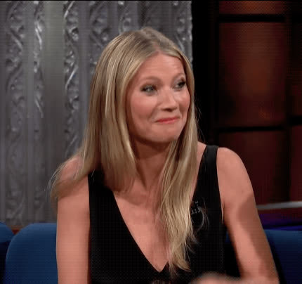 awkward, blush, embarrassed, gwyneth paltrow, oops, stephen colbert, the late show, uh oh, whoops, yikes, Gwyneth Paltrow Embarrassed GIFs