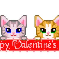 Watch and share Happy Valentines Day - Two Kittens Blinkie animated stickers on Gfycat