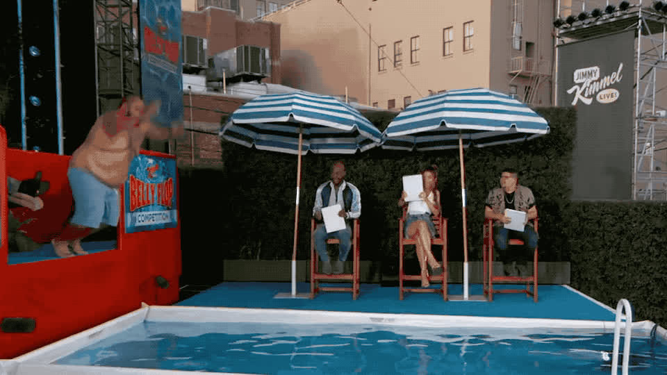 annual, belly, competition, epic, fall, fat, flop, funny, hilarious, jimmy, kimmel, live, lol, pool, splash, summer, swim, swimmer, swimming, water, 12th annual belly flop competition GIFs