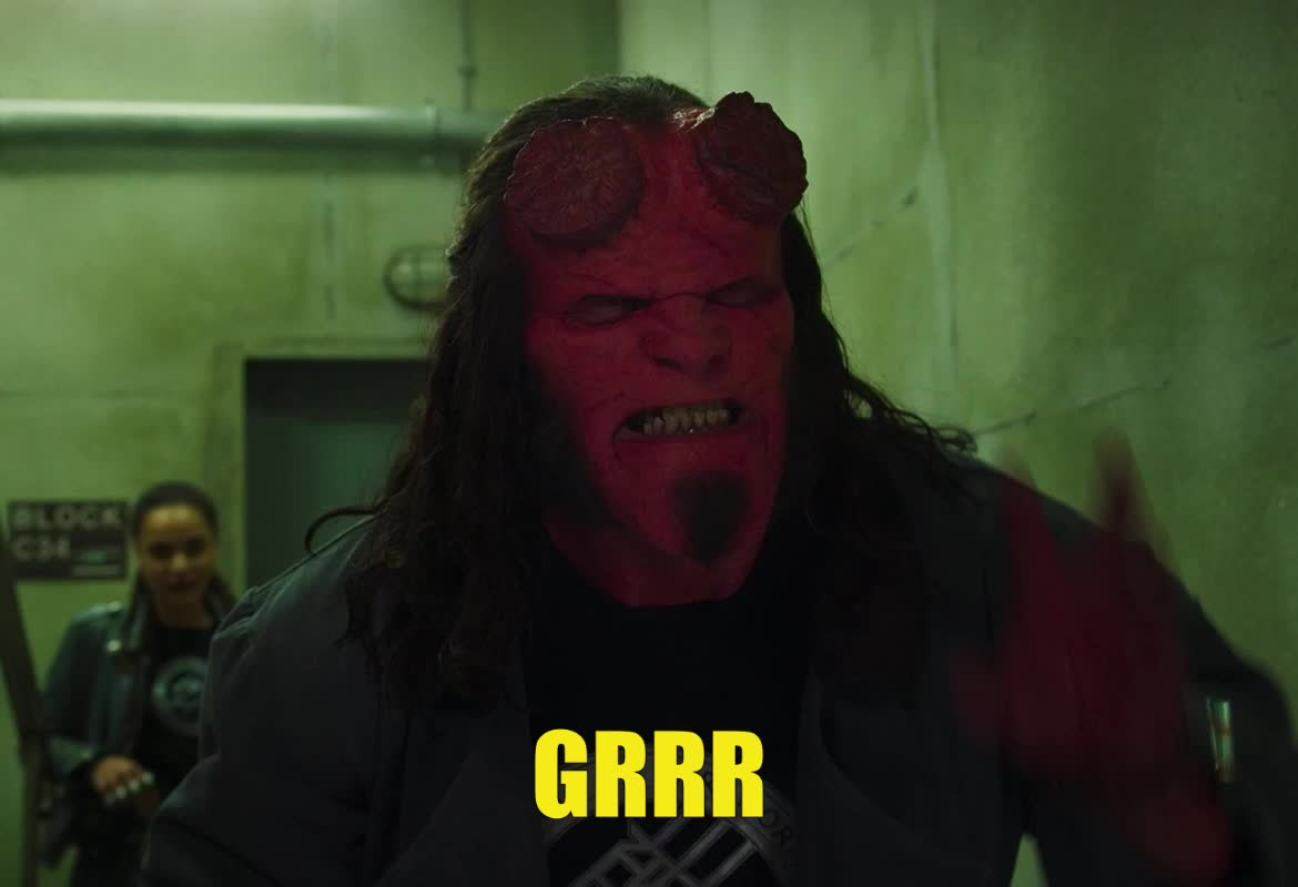 angry, dark horse, dark horse comics, david harbour, frustrated, funny, grrr, grrrr, hellboy, hellboy 2019, hellboy movie, mad, superhero, superheroes, Hellboy Grrr Face GIFs