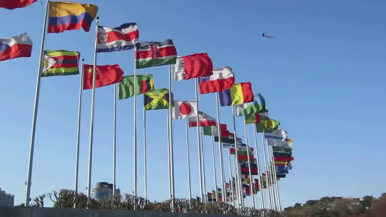Flags flying in the wind at Seoul Olympic Park GIFs