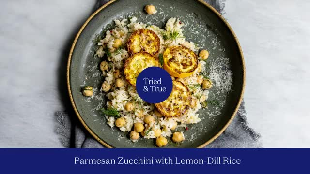 Watch and share Parmesan Zucchini With Lemon-Dill Rice GIFs by triedandtruerecipes on Gfycat