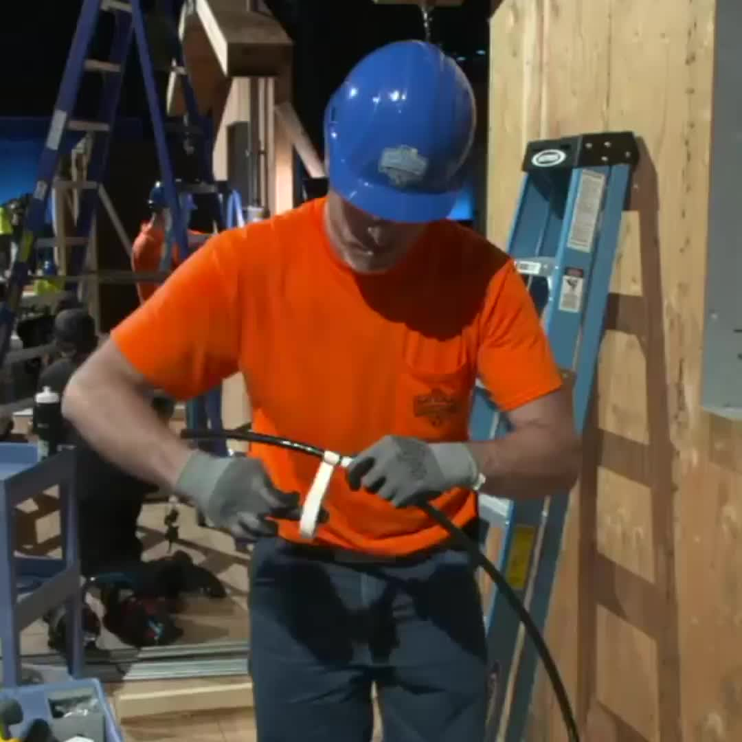 "The Ocho: IDEAL Electricians National Championship, ""Look at how nice and neat that electrical panel looks."" The Ocho's IDEAL El... GIFs"