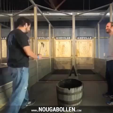 Watch and share Axe Throwing Almost Goes Wrong GIFs by TMS on Gfycat