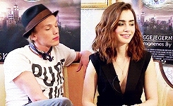 Clace, Clary Fray, Jace Herondale, Jace and Clary, JamieCampbellBower, jamie bower, jamie campbell bower, jamie x lily, jamily, jamilyforever, lily collins, lilycollins, relationship goals, the mortal instruments, tmi, the perks of being a fangirl GIFs