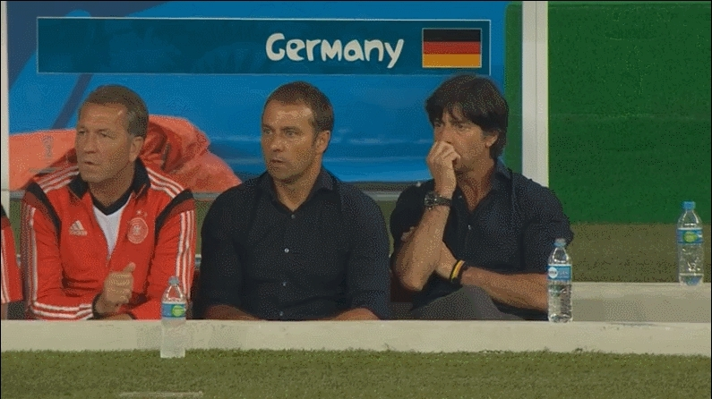 soccer, Joachim Low's reaction to Germany's 7th goal against Brazil. GIFs