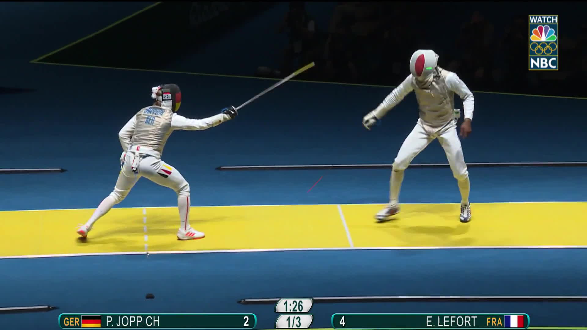 gifs, nbc olympics: rio 2016, olymgifs, France's Lefort loses his phone during a fencing tie-up GIFs