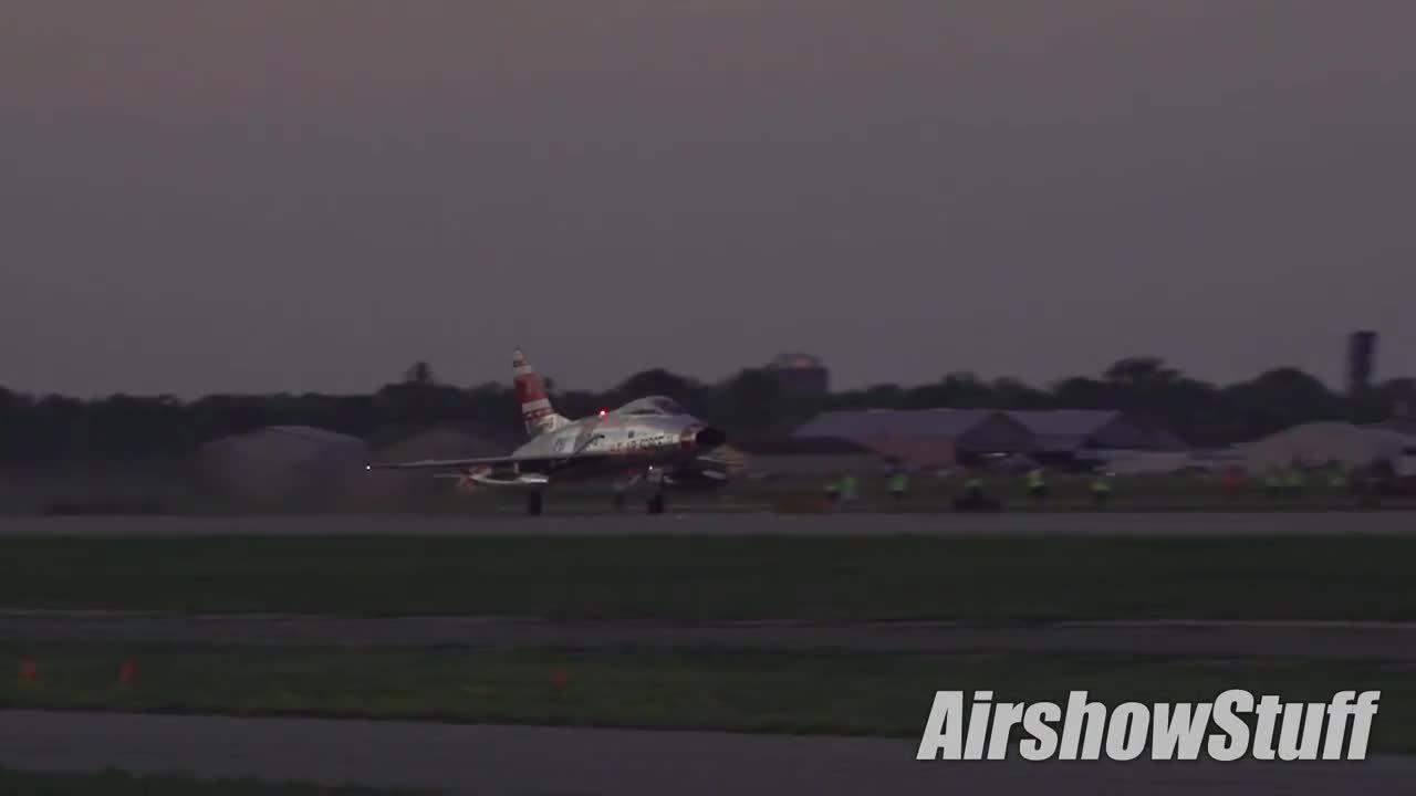 WarplaneGfys, warplanegfys, F-100 Super Sabre Twilight Afterburner - EAA AirVenture Oshkosh 2015 (reddit) GIFs