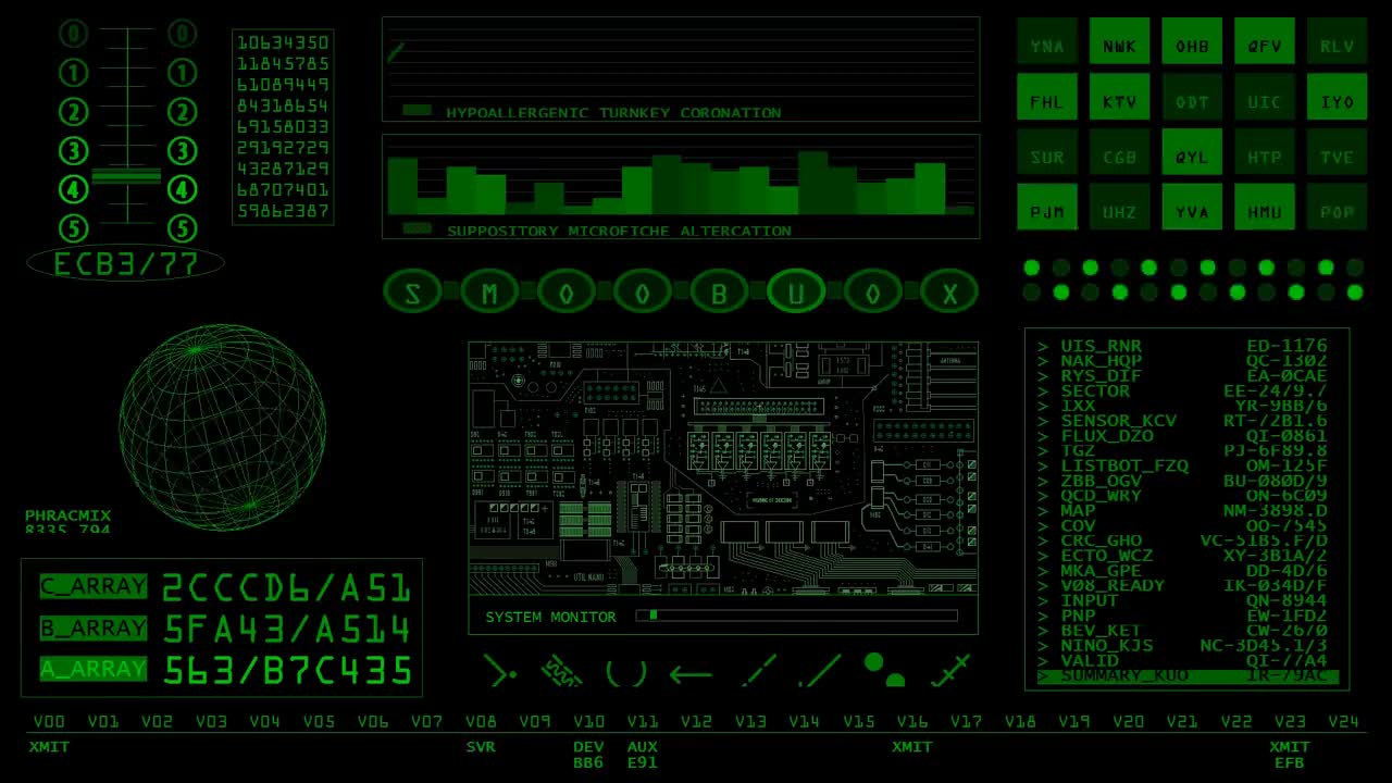 Sci-fi, ambiance, art, background, computer, console, data, fi, graph, misc, random, readout, retro, sci, screensaver, spaceship, stuff, video, Andy Fielding - Retro SciFi Green GIFs