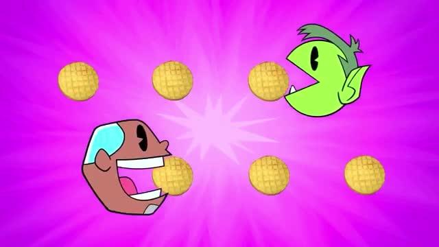 bfast, bite, breakfast, brunch, cartoon, delicious, eat, funny, go, hungry, lol, lunch, network, song, taste, teen, titans, waffles, yum, yummy, Teen Titans Go - Waffles song GIFs