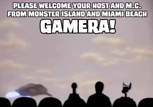 "Watch Mystery Science Theater 3000,""Gamera vs. Zigra"" GIF on Gfycat. Discover more gamera, gamera gif, gamera vs. zigra, gif, kaiju, mst3k, mst3k gif, my gif, mystery science theater 3000, please welcome your host and mc from monster island and miami beach GIFs on Gfycat"