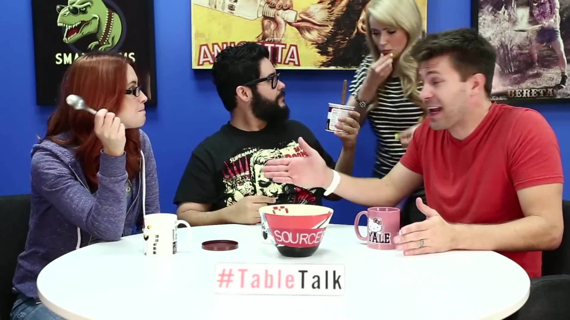 SourceFed, SourceFedNerd, leenewton, Chocolate Frosting, Madness, and Violent Video Games on #TableTalk! GIFs