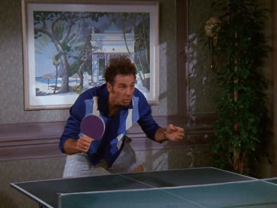 Kramergifs, funny, kramer, ping pong, seinfeld, Dominating the ping pong table GIFs