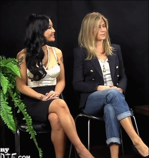 Jennifer Aniston, between two ferns, between two ferns with zach galifianakis, Jennifer Aniston and Tila Tequila GIFs