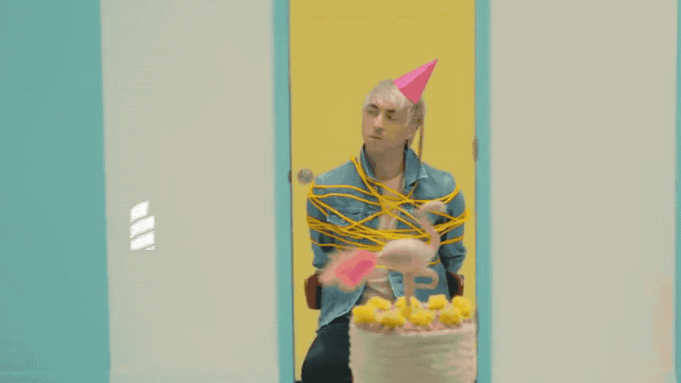 all, annoyed, birthday, bored, chair, god, hat, hostage, low, my, oh, omg, prisoner, rope, slave, tied, time, up, wait, waiting, All time low - Birthday GIFs