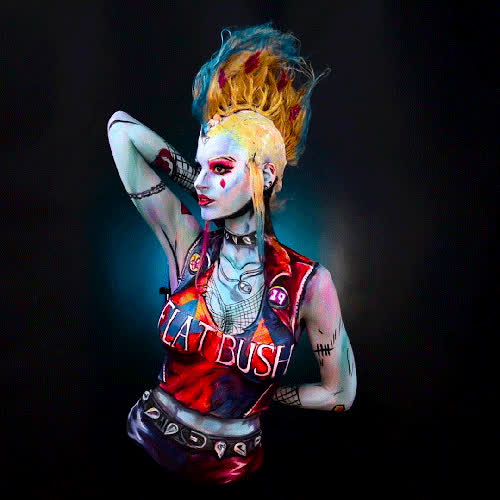 bodypaint, cosplay, harleyquinn, kaypike, kaypikefashion, punk, punker, tiwtch, undercover, undercover punker harleyquinn bodypaint Painted on twitch.tv/kaypikefashion GIFs