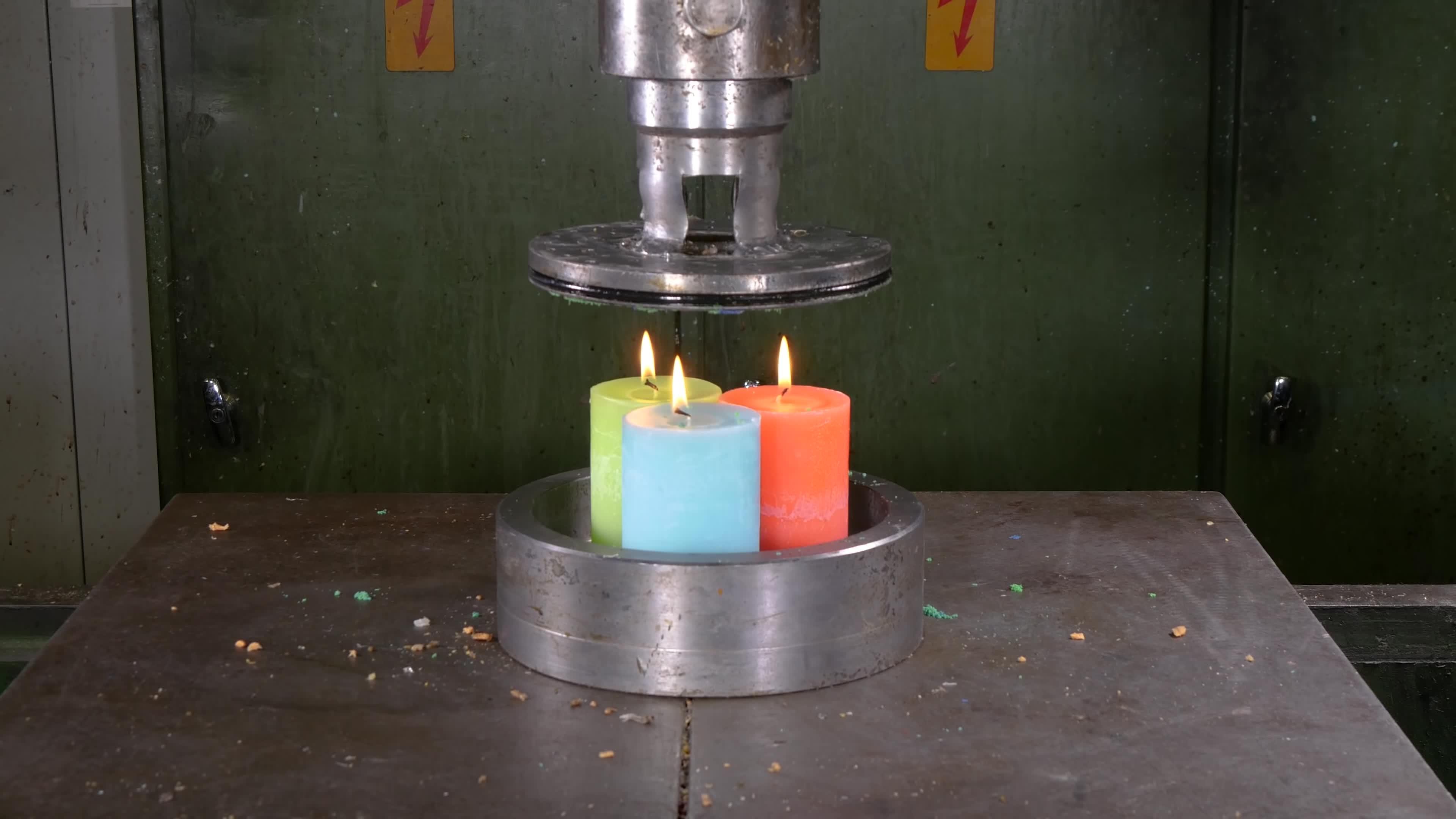 Hydraulic press channel, crush, destroy, hydraulic, hydraulic press, hydraulic press man, hydraulicpress, hydraulicpresschannel, press, willitcrush, Pressing Candles Through Small Holes with Hydraulic Press | in 4K GIFs