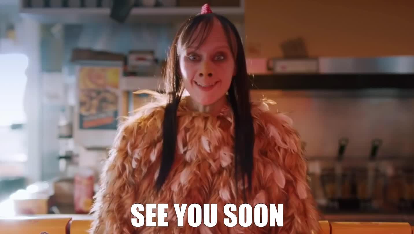 Momo, bok, bok bok, chicken, epic, funny, kate, live, lol, mascot, mckinnon, momo, night, saturday, scary, see, see you later, snl, soon, ugly, you, Bok Bok - SNL GIFs