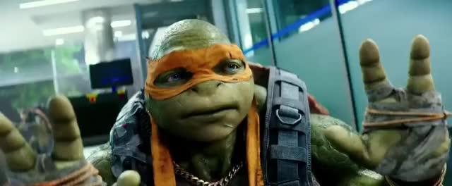 TMNT2 (2016) We're Not Monsters Scene (HD) megan fox, stephen amell, will arnett, brian tee, tyler perry, noel fisher, jeremy howard, pete ploszek, alan ritchson, splinter, shredder, krang, karai, mikey, leo, raph, donnie, april o'neil, casey jones, film, movie, clip, trailer, funny, vern fenwick GIF