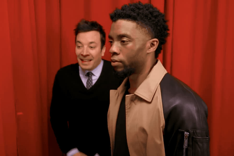 black, boseman, chadwick, fallon, fan, funny, ha, haha, he, hehe, hilarious, jimmy, laugh, lol, loud, omg, out, panther, premiere, surprise, Chadwick Boseman, Jimmy Fallon - LOL  GIFs