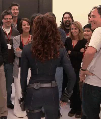 Watch Trying on Black Widow Costume GIF on Gfycat. Discover more ScarlettJohansson, scarlettjohansson GIFs on Gfycat