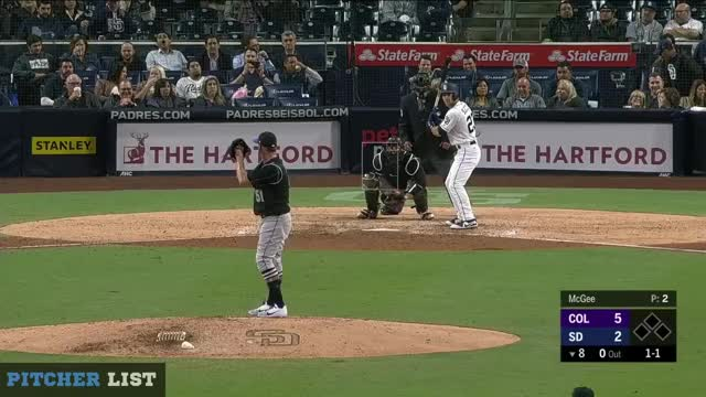 Watch Jake McGee CB 2018 GIF on Gfycat. Discover more Colorado Rockies, San Diego Padres, baseball GIFs on Gfycat