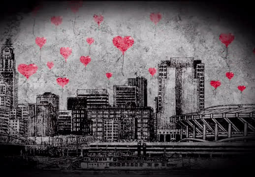animation, city, hearts, hitrecord, love, skyline, City of Hearts GIFs