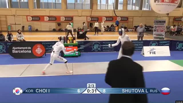 Watch CHOI I 6 GIF by Scott Dubinsky (@fencingdatabase) on Gfycat. Discover more gender: female, leftname: CHOI I, leftscore: 6, rightname: SHUTOVA L, rightscore: 9, time: 00010165, touch: right, tournament: barcelona2019, weapon: epee GIFs on Gfycat