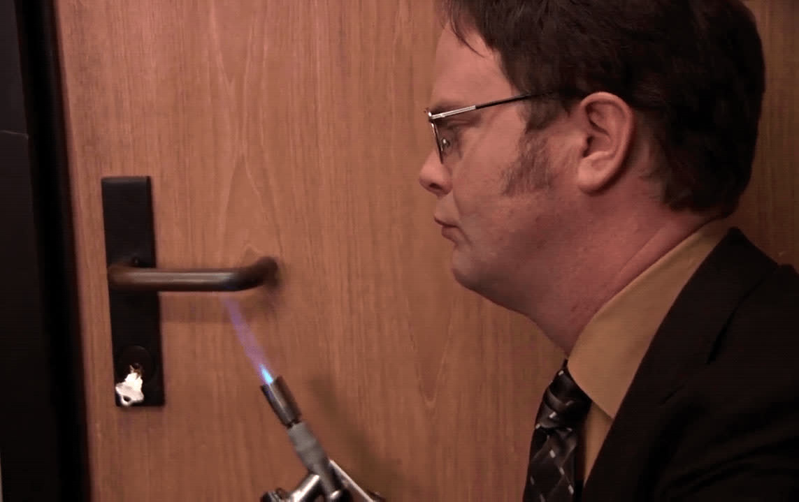 Dwight Schrute, Rainn Wilson, crazy, fire drill, the office, torch, Dwight Schrute Fire Drill GIFs