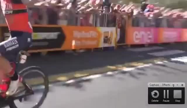 Watch and share Giro De Italia 2017 Stage 5 Luka Pibernik (Bahrain Mérida) Hace El Ridículo Celebra Falsa Victoria GIFs on Gfycat