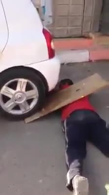 IdiotsInCars, IdiotsNearlyDying, WinStupidPrizes, Hold still, while I drive this car over you (reddit) GIFs