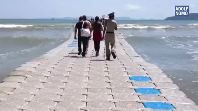 Watch and share Floating Bridge On Sea. Can You Walk On This? GIFs by xxblackhawkxx on Gfycat