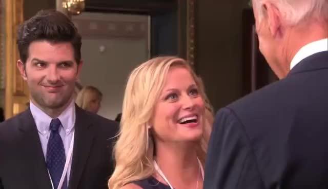 Joe Biden, Leslie Knope, Parks and Recreation, Leslie Knope meets Joe Biden GIFs