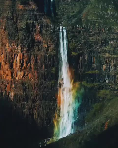 nature, A natural kaleidoscope! Rainbow forms in spray at bottom of Waipo'o Falls! 💦🌈 GIFs