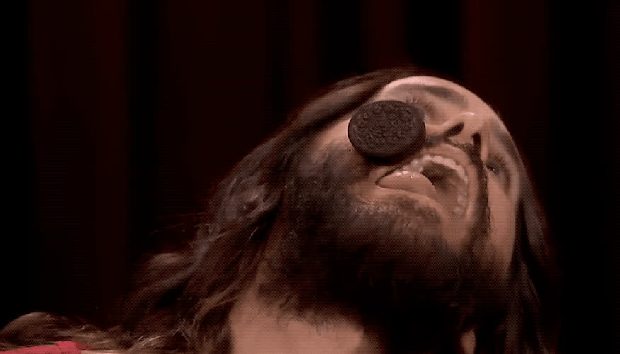 cookie, drinking, eat, eating, epic, fallon, food, funny, haha, hehe, hungry, jared, jimmy, leto, lol, oreo, show, tongue, tonight, trending, Jared Leto is eating a cookie GIFs